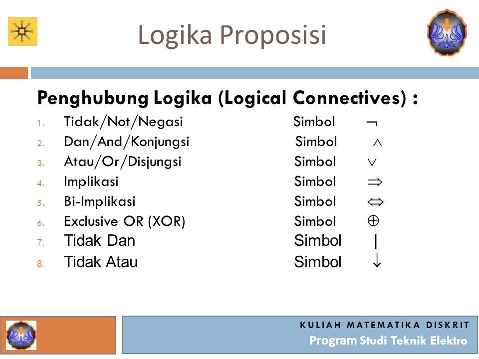 Logika Proposisi KULIAH MATEMATIKA DISKRIT Program Studi Teknik Elektro Penghubung Logika (Logical Connectives) : 1. Tidak/Not/Negasi Simbol  2. Dan/