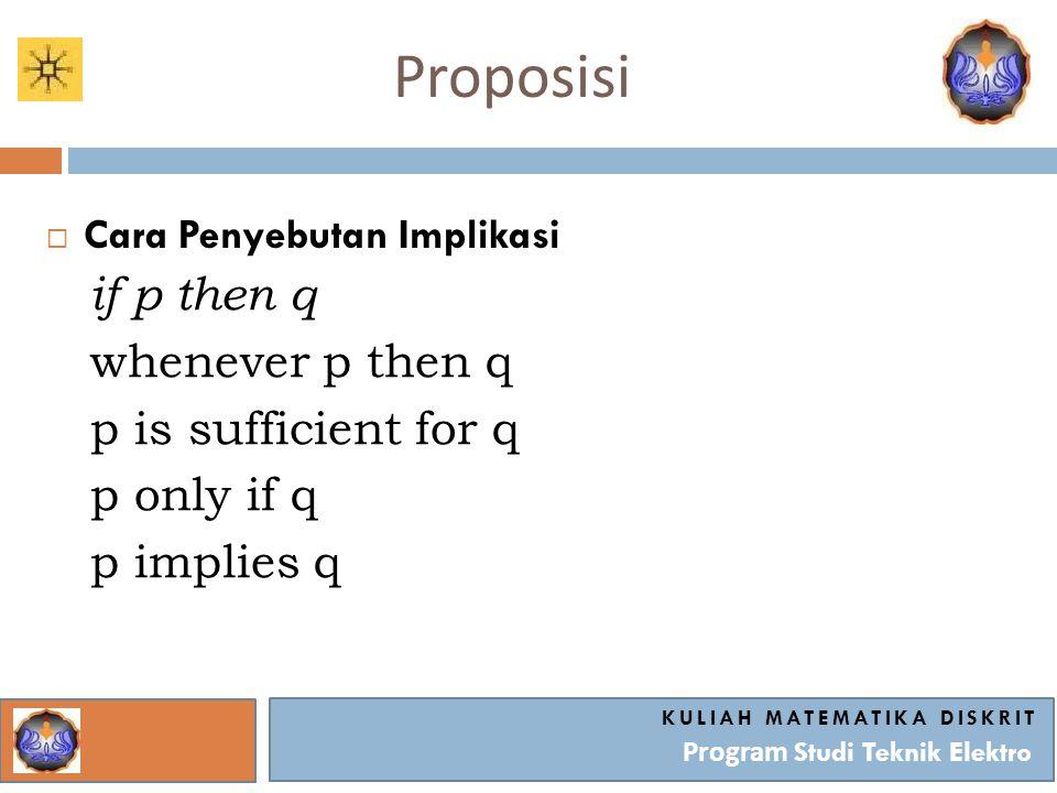 Proposisi KULIAH MATEMATIKA DISKRIT Program Studi Teknik Elektro  Cara Penyebutan Implikasi if p then q whenever p then q p is sufficient for q p onl