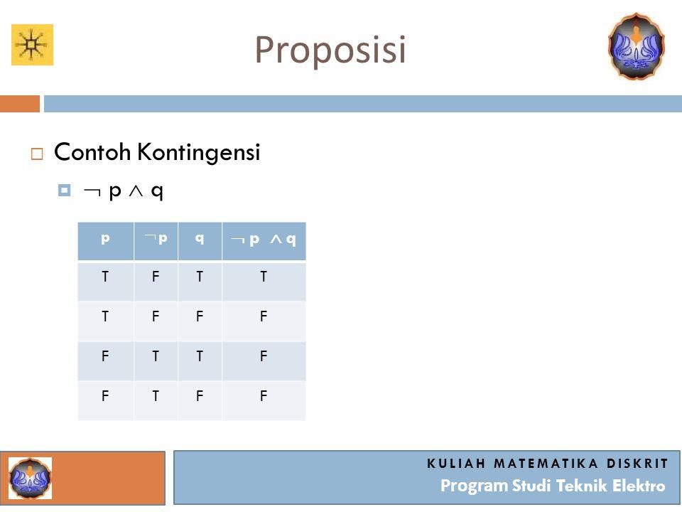 Proposisi KULIAH MATEMATIKA DISKRIT Program Studi Teknik Elektro  Contoh Kontingensi   p  q p  p q  p  q TFTT TFFF FTTF FTFF