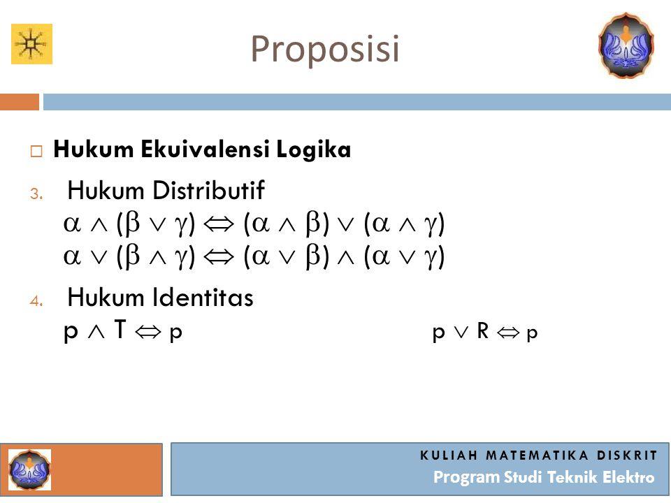 Proposisi KULIAH MATEMATIKA DISKRIT Program Studi Teknik Elektro  Hukum Ekuivalensi Logika 3. Hukum Distributif   (    )  (    )  (    )