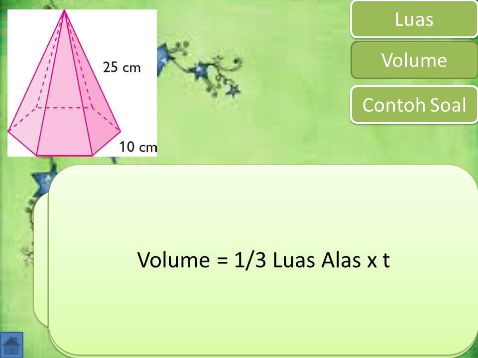 Prisma merupakan bangun ruang yang memiliki alas berbentuk segi-n dan dibatasi oleh n buah sisi bebentuk segitiga. Luas Volume Luas = Luas Alas + (n x