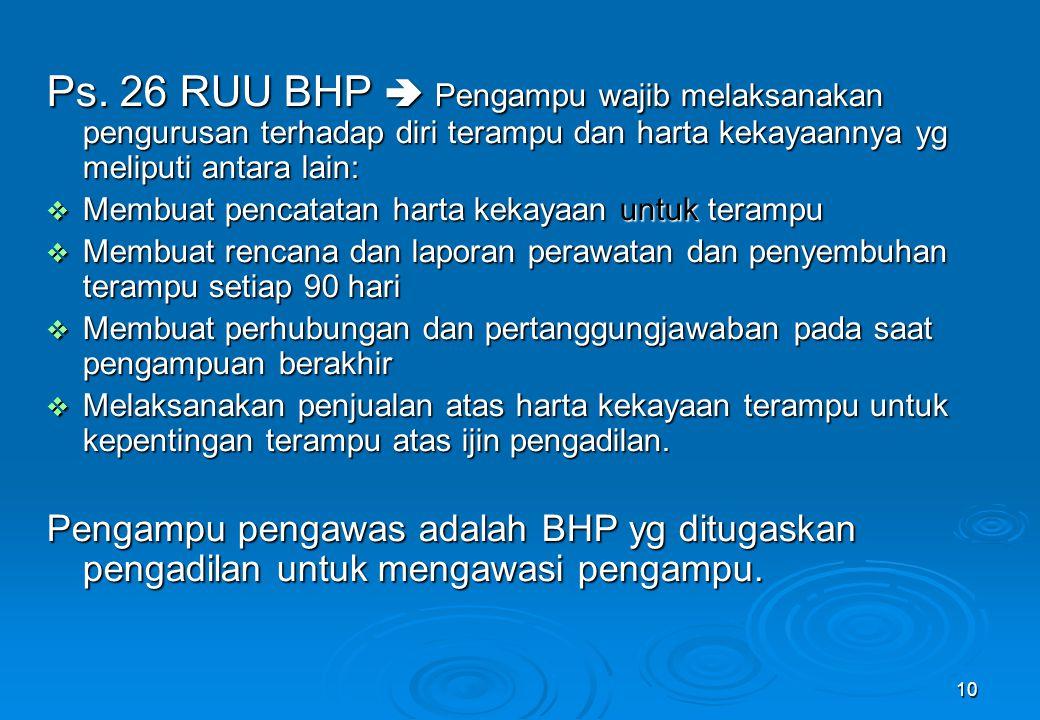 10 Ps. 26 RUU BHP  Pengampu wajib melaksanakan pengurusan terhadap diri terampu dan harta kekayaannya yg meliputi antara lain:  Membuat pencatatan h