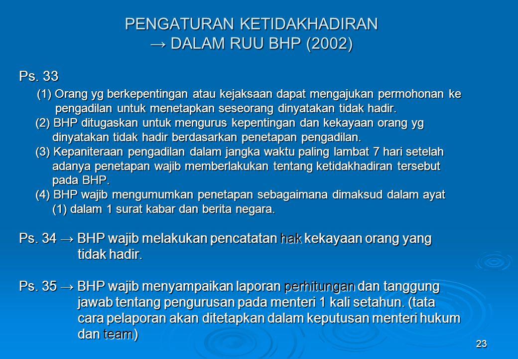 23 PENGATURAN KETIDAKHADIRAN → DALAM RUU BHP (2002) Ps. 33 (1) Orang yg berkepentingan atau kejaksaan dapat mengajukan permohonan ke pengadilan untuk