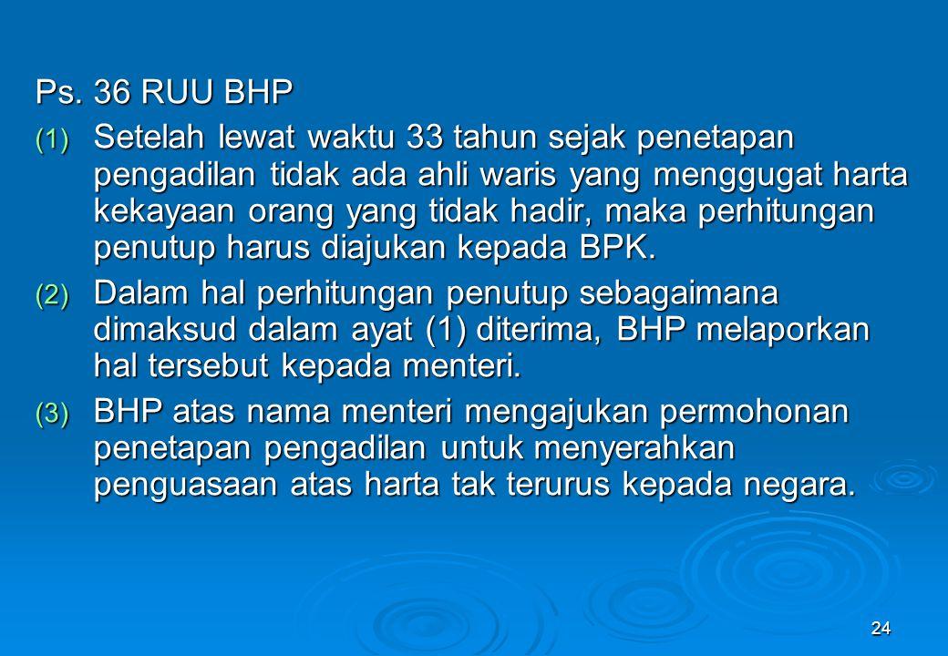 24 Ps. 36 RUU BHP (1) Setelah lewat waktu 33 tahun sejak penetapan pengadilan tidak ada ahli waris yang menggugat harta kekayaan orang yang tidak hadi