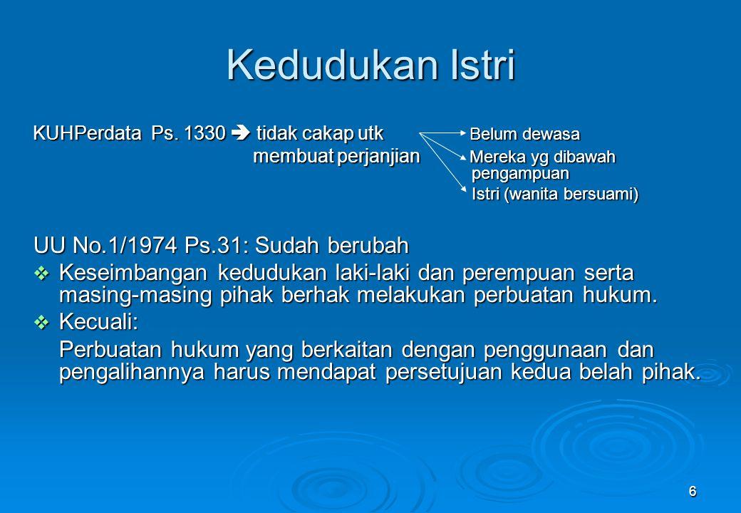 6 Kedudukan Istri KUHPerdata Ps. 1330  tidak cakap utk Belum dewasa membuat perjanjian Mereka yg dibawah pengampuan membuat perjanjian Mereka yg diba