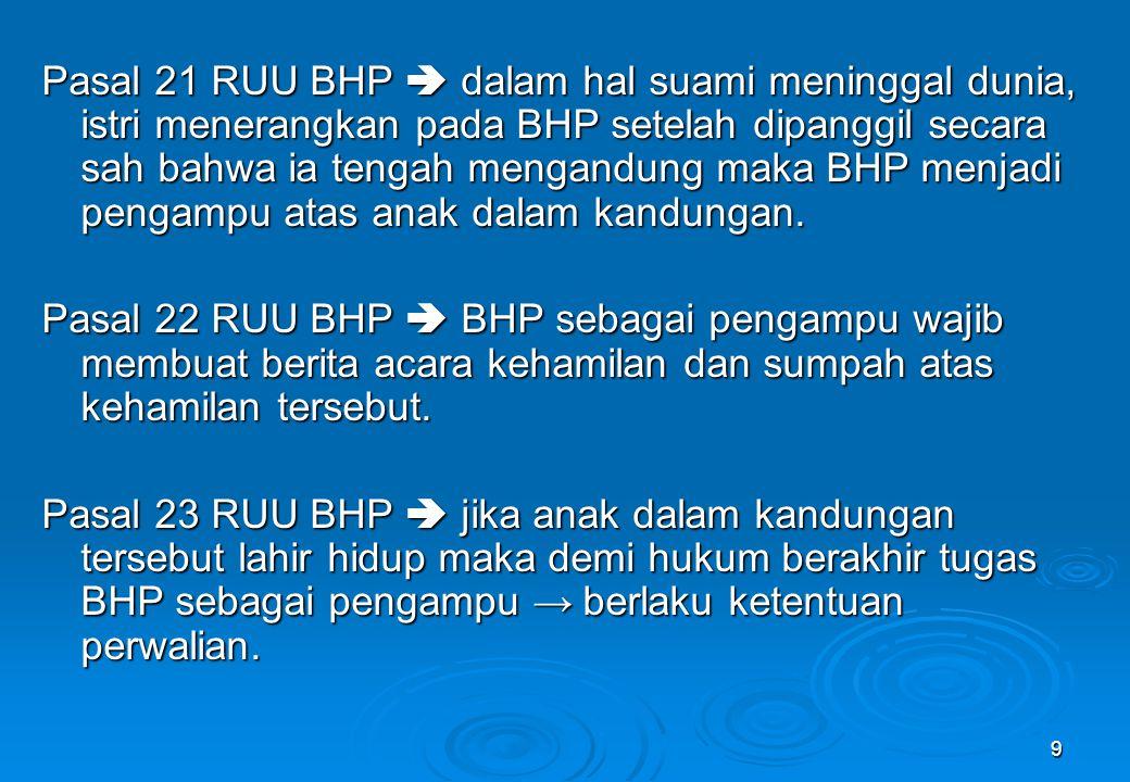 9 Pasal 21 RUU BHP  dalam hal suami meninggal dunia, istri menerangkan pada BHP setelah dipanggil secara sah bahwa ia tengah mengandung maka BHP menj