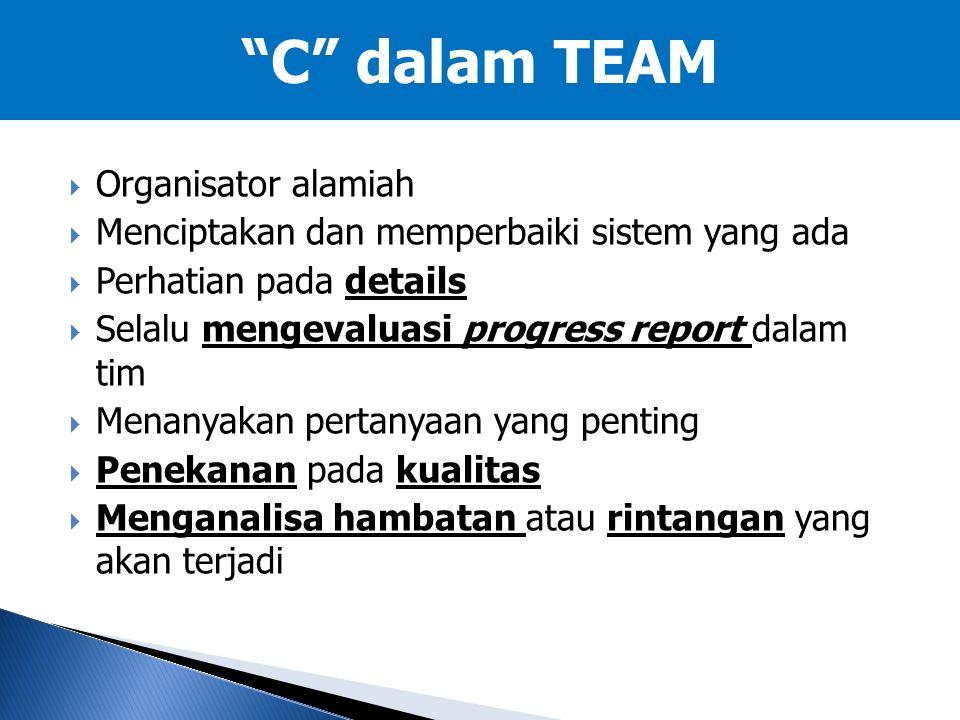  Organisator alamiah  Menciptakan dan memperbaiki sistem yang ada  Perhatian pada details  Selalu mengevaluasi progress report dalam tim  Menanya