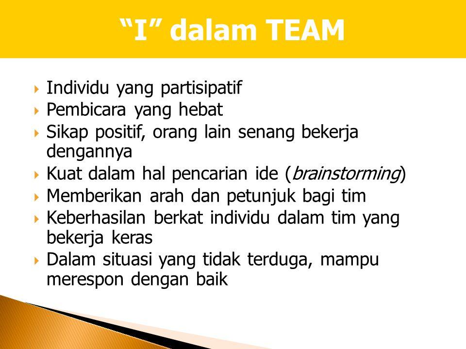  Individu yang partisipatif  Pembicara yang hebat  Sikap positif, orang lain senang bekerja dengannya  Kuat dalam hal pencarian ide (brainstorming