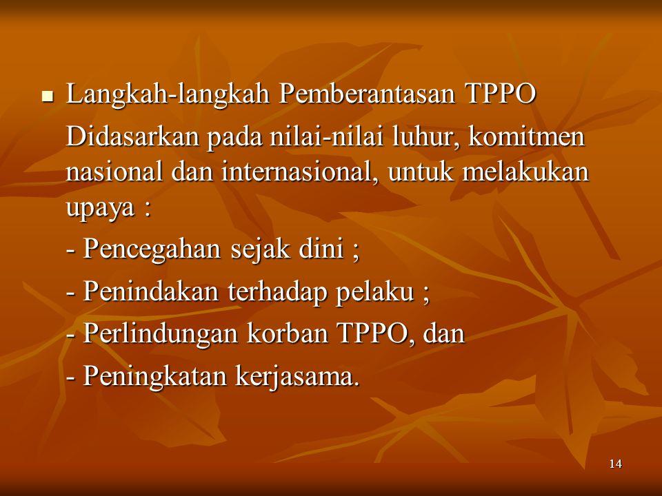 14 Langkah-langkah Pemberantasan TPPO Langkah-langkah Pemberantasan TPPO Didasarkan pada nilai-nilai luhur, komitmen nasional dan internasional, untuk melakukan upaya : - Pencegahan sejak dini ; - Penindakan terhadap pelaku ; - Perlindungan korban TPPO, dan - Peningkatan kerjasama.