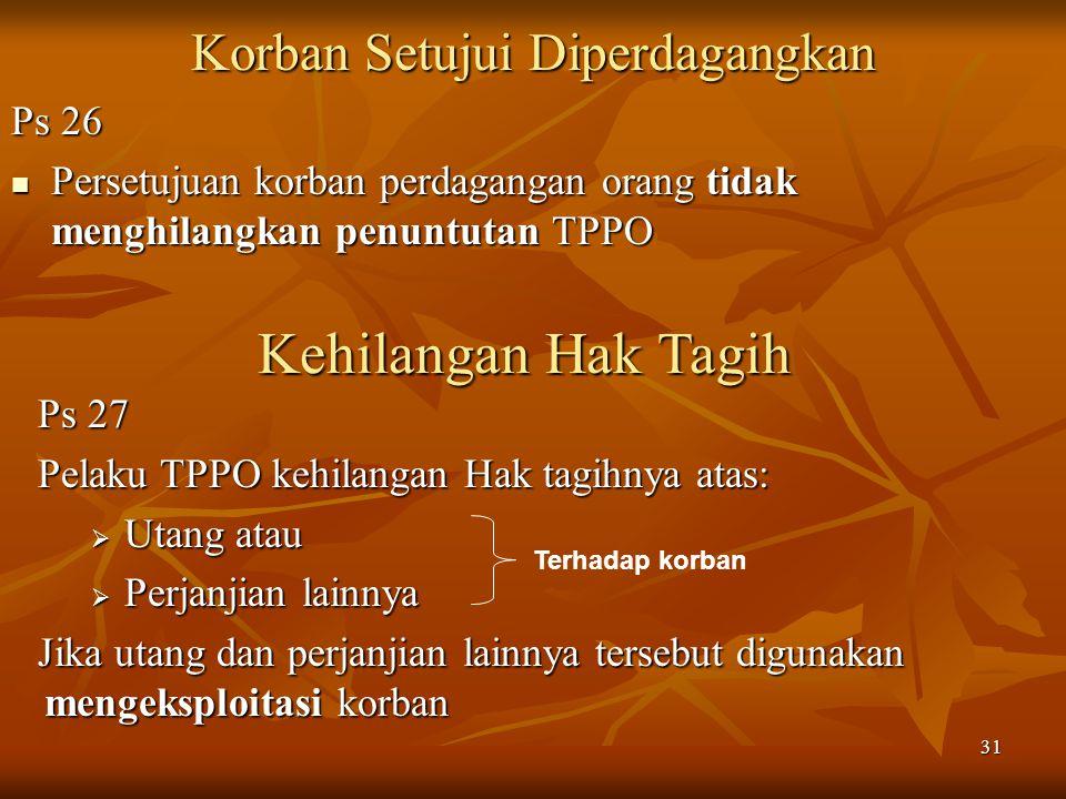 31 Korban Setujui Diperdagangkan Ps 26 Persetujuan korban perdagangan orang tidak menghilangkan penuntutan TPPO Persetujuan korban perdagangan orang t