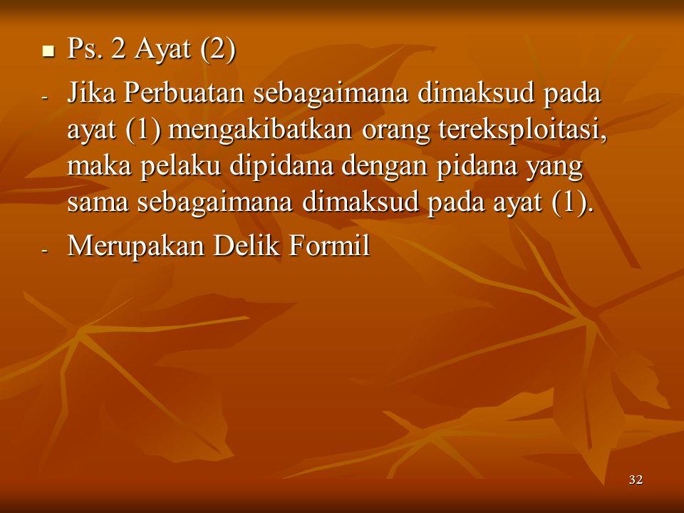 32 Ps. 2 Ayat (2) Ps. 2 Ayat (2) - Jika Perbuatan sebagaimana dimaksud pada ayat (1) mengakibatkan orang tereksploitasi, maka pelaku dipidana dengan p