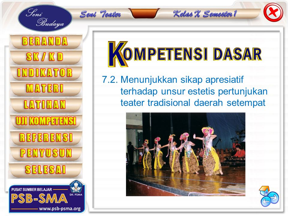 Seni Budaya 7.2. Menunjukkan sikap apresiatif terhadap unsur estetis pertunjukan teater tradisional daerah setempat