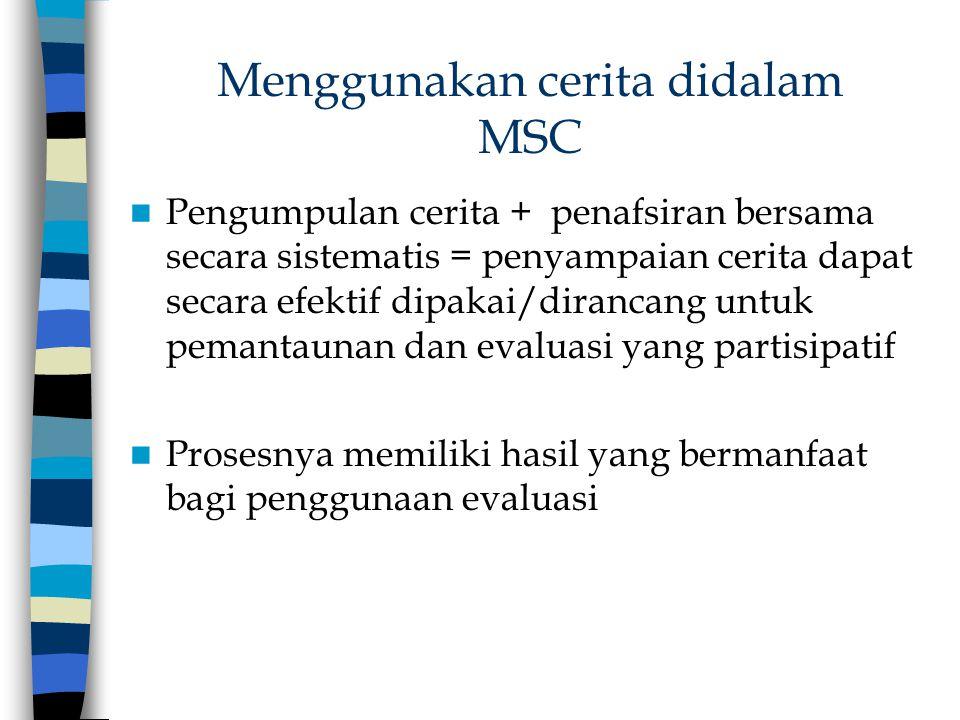 Menggunakan cerita didalam MSC Pengumpulan cerita + penafsiran bersama secara sistematis = penyampaian cerita dapat secara efektif dipakai/dirancang u