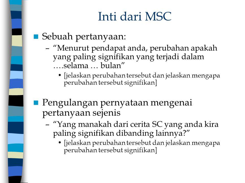 """Inti dari MSC Sebuah pertanyaan: –""""Menurut pendapat anda, perubahan apakah yang paling signifikan yang terjadi dalam ….selama … bulan"""" [jelaskan perub"""