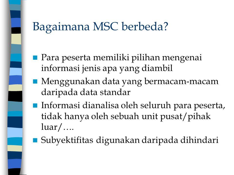 Bagaimana MSC berbeda? Para peserta memiliki pilihan mengenai informasi jenis apa yang diambil Menggunakan data yang bermacam-macam daripada data stan
