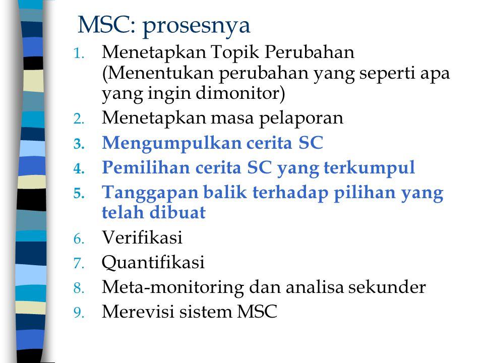 MSC: prosesnya 1. Menetapkan Topik Perubahan (Menentukan perubahan yang seperti apa yang ingin dimonitor) 2. Menetapkan masa pelaporan 3. Mengumpulkan
