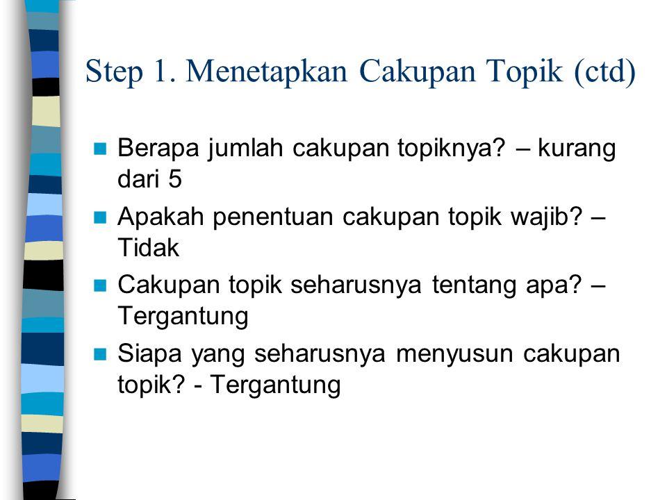 Step 1. Menetapkan Cakupan Topik (ctd) Berapa jumlah cakupan topiknya? – kurang dari 5 Apakah penentuan cakupan topik wajib? – Tidak Cakupan topik seh