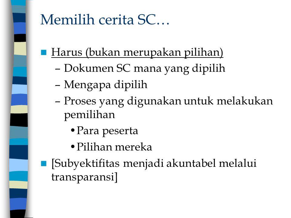 Memilih cerita SC… Harus (bukan merupakan pilihan) –Dokumen SC mana yang dipilih –Mengapa dipilih –Proses yang digunakan untuk melakukan pemilihan Par