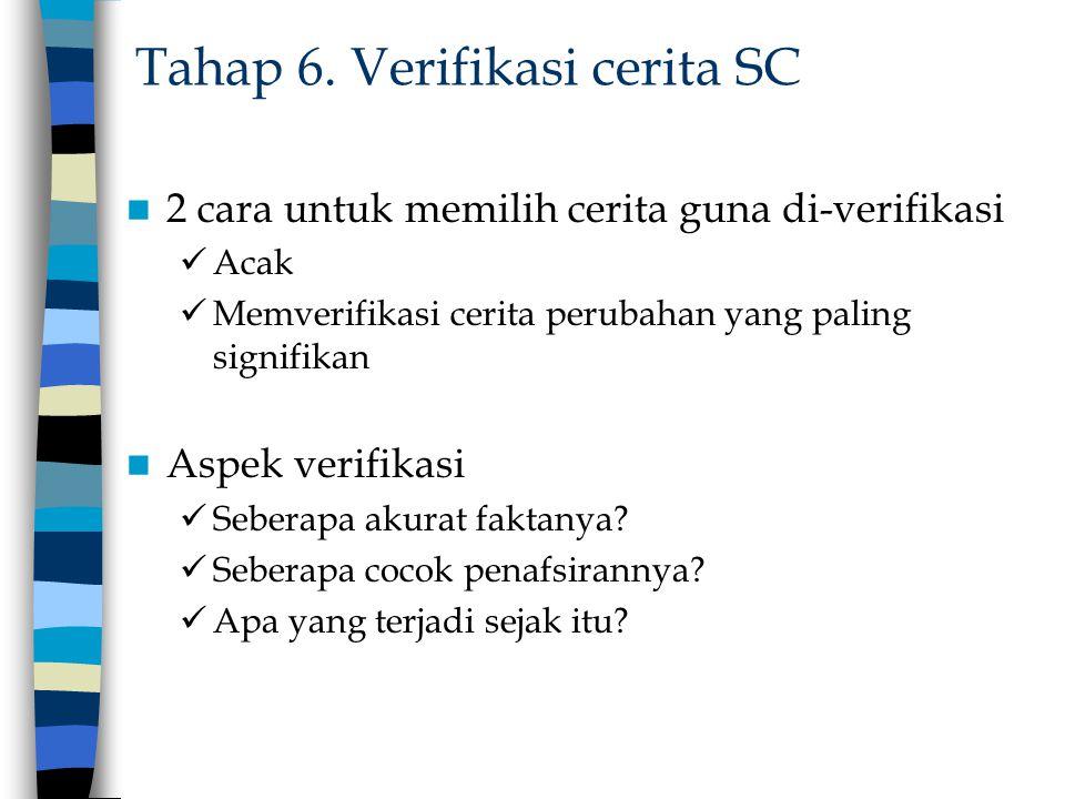 Tahap 6. Verifikasi cerita SC 2 cara untuk memilih cerita guna di-verifikasi Acak Memverifikasi cerita perubahan yang paling signifikan Aspek verifika
