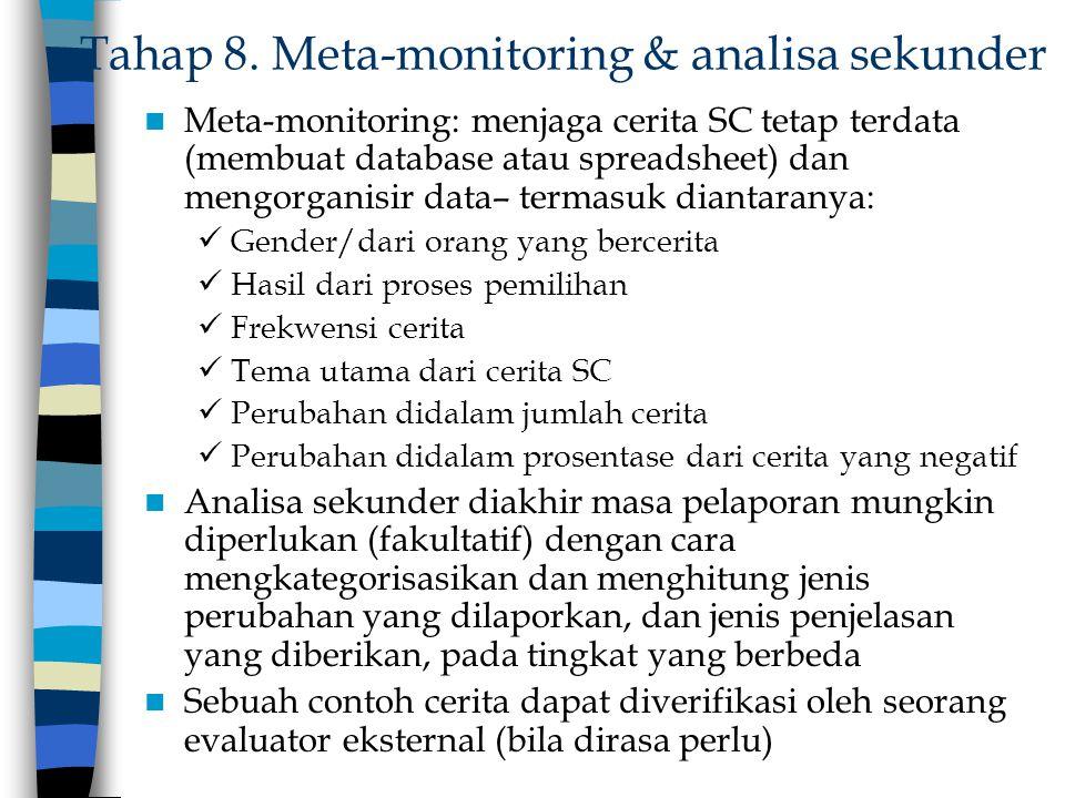Tahap 8. Meta-monitoring & analisa sekunder Meta-monitoring: menjaga cerita SC tetap terdata (membuat database atau spreadsheet) dan mengorganisir dat