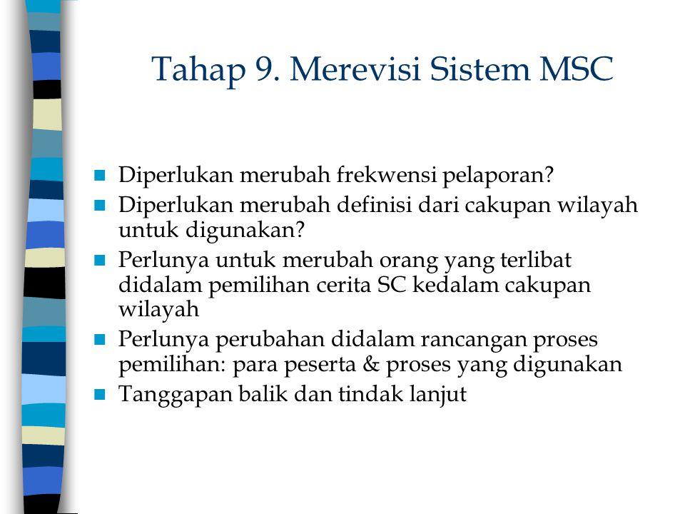 Tahap 9. Merevisi Sistem MSC Diperlukan merubah frekwensi pelaporan? Diperlukan merubah definisi dari cakupan wilayah untuk digunakan? Perlunya untuk