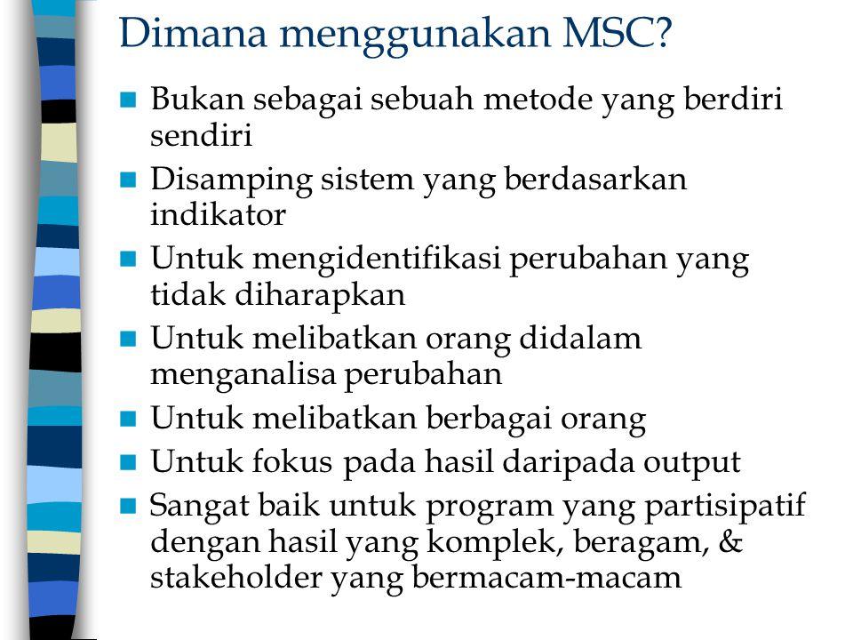 Dimana menggunakan MSC? Bukan sebagai sebuah metode yang berdiri sendiri Disamping sistem yang berdasarkan indikator Untuk mengidentifikasi perubahan