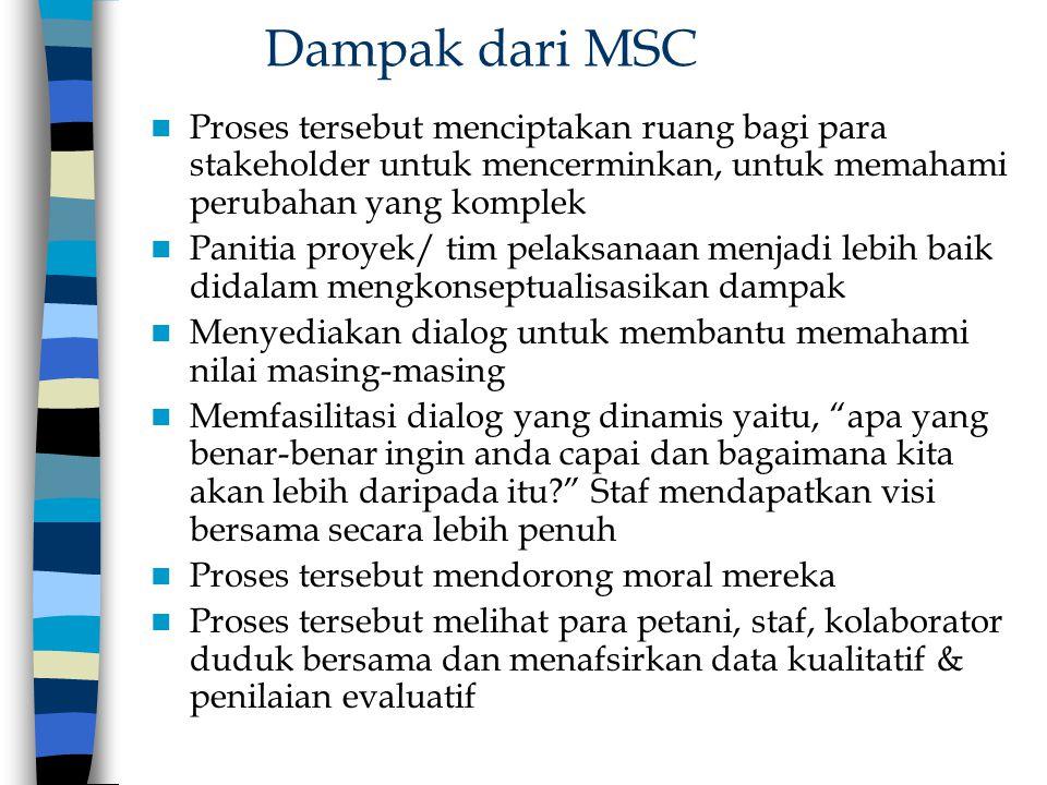 Dampak dari MSC Proses tersebut menciptakan ruang bagi para stakeholder untuk mencerminkan, untuk memahami perubahan yang komplek Panitia proyek/ tim