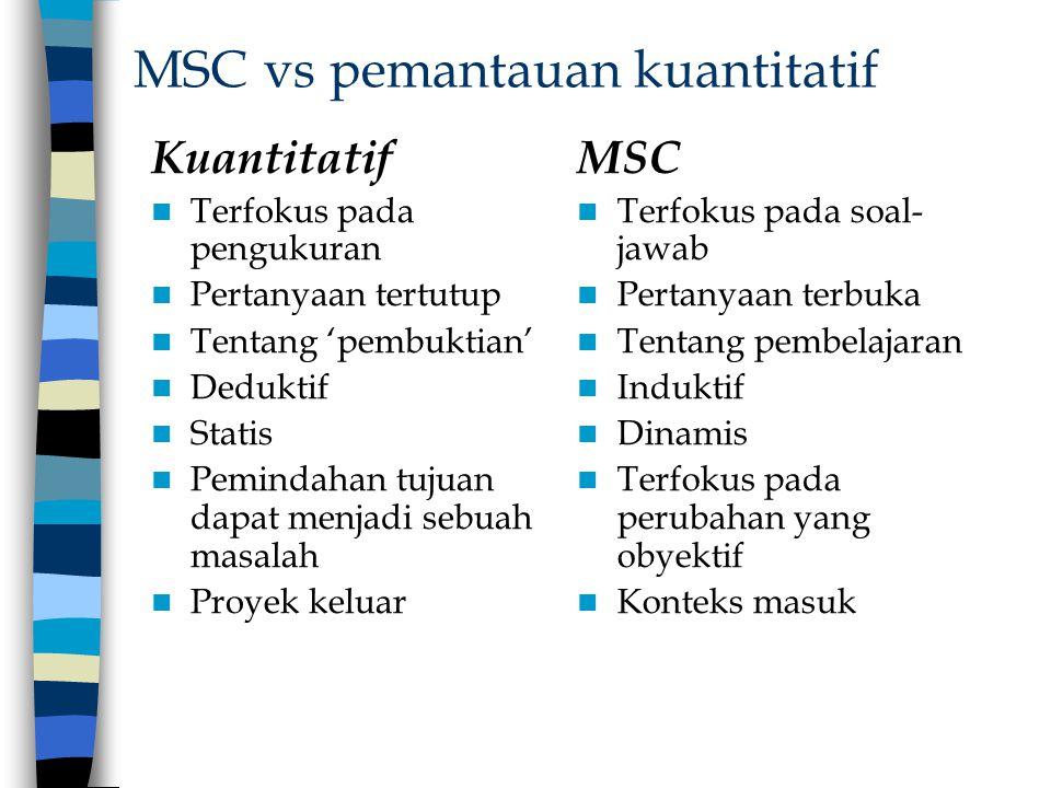 MSC vs pemantauan kuantitatif Kuantitatif Terfokus pada pengukuran Pertanyaan tertutup Tentang 'pembuktian' Deduktif Statis Pemindahan tujuan dapat me