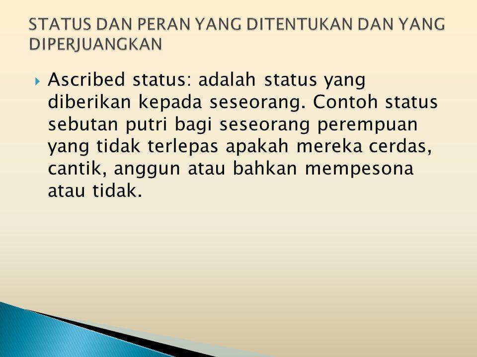  Ascribed status: adalah status yang diberikan kepada seseorang.
