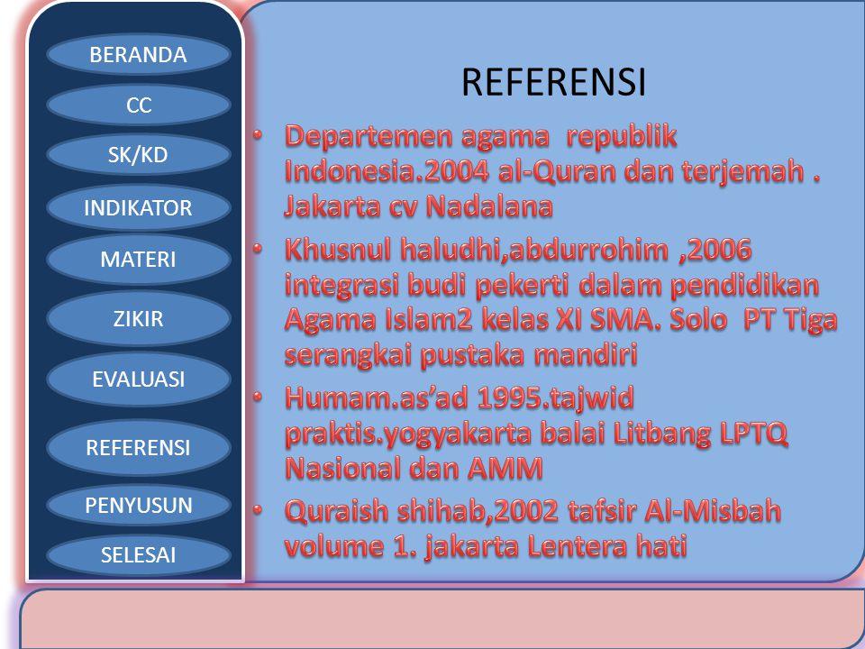 BERANDA CC SK/KD INDIKATOR MATERI ZIKIR EVALUASI REFERENSI PENYUSUN SELESAI REFERENSI