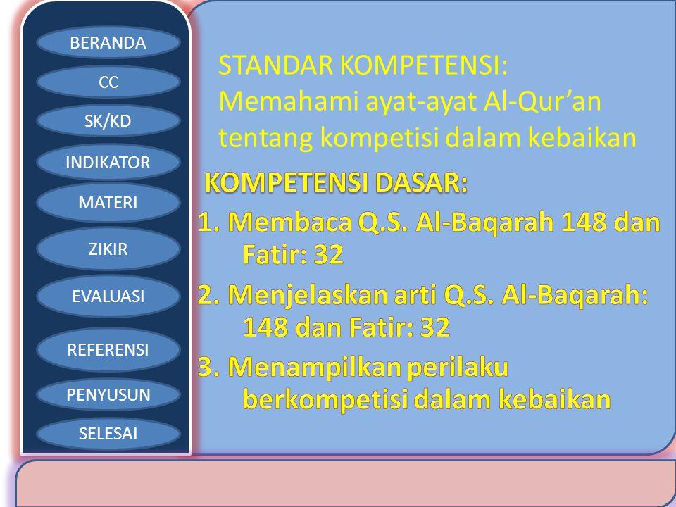 BERANDA CC SK/KD INDIKATOR MATERI ZIKIR EVALUASI REFERENSI PENYUSUN SELESAI STANDAR KOMPETENSI: Memahami ayat-ayat Al-Qur'an tentang kompetisi dalam k