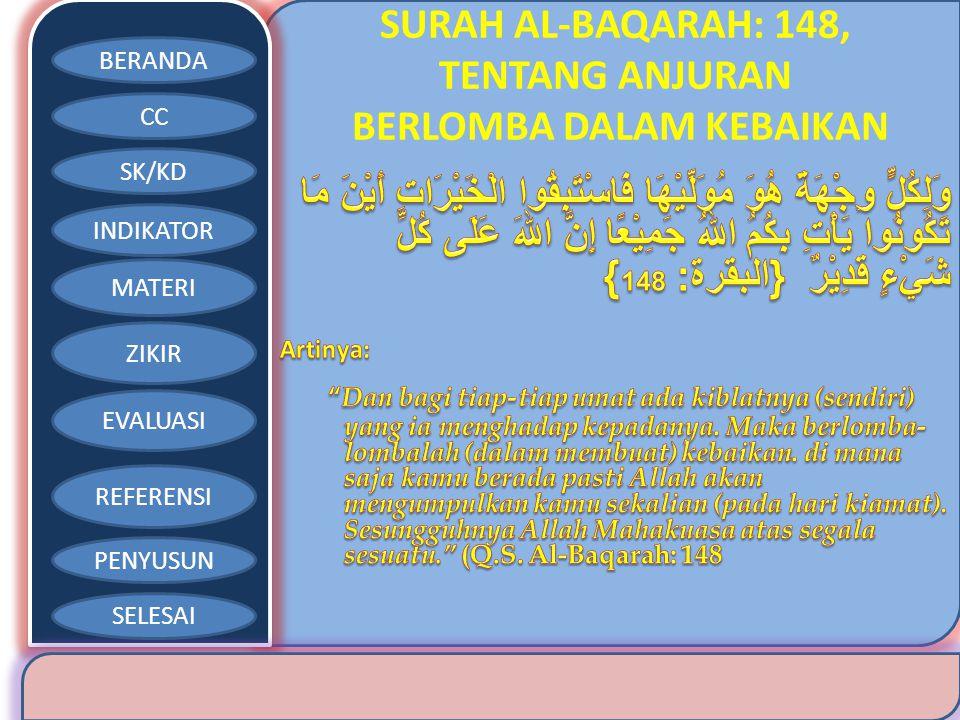 BERANDA CC SK/KD INDIKATOR MATERI ZIKIR EVALUASI REFERENSI PENYUSUN SELESAI SURAH AL-BAQARAH: 148, TENTANG ANJURAN BERLOMBA DALAM KEBAIKAN