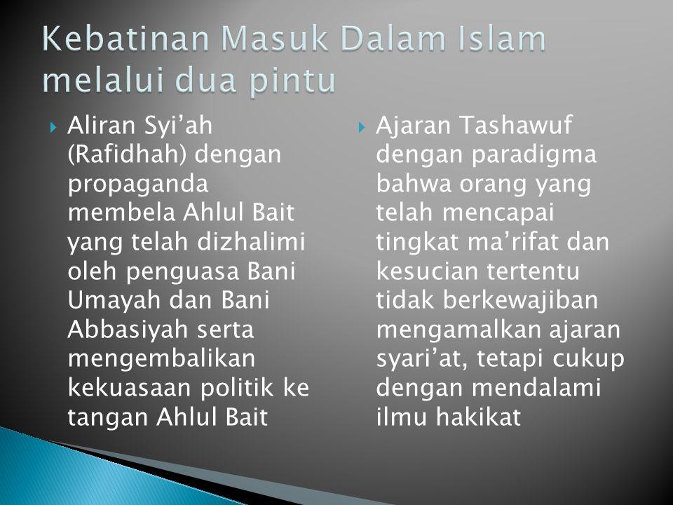  Aliran Syi'ah (Rafidhah) dengan propaganda membela Ahlul Bait yang telah dizhalimi oleh penguasa Bani Umayah dan Bani Abbasiyah serta mengembalikan
