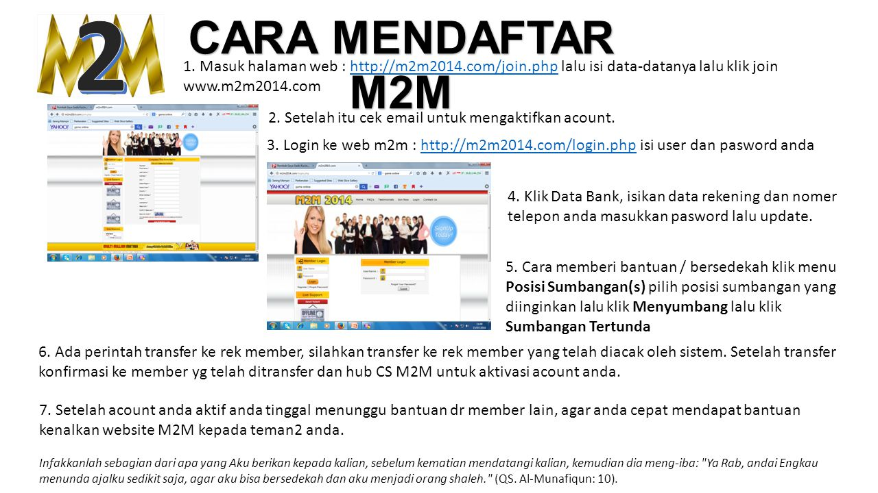 CARA MENDAFTAR M2M 1. Masuk halaman web : http://m2m2014.com/join.php lalu isi data-datanya lalu klik joinhttp://m2m2014.com/join.php www.m2m2014.com