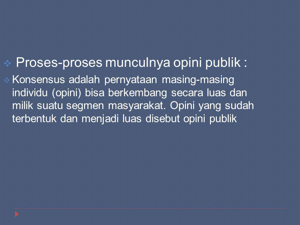  Proses-proses munculnya opini publik :  Konsensus adalah pernyataan masing-masing individu (opini) bisa berkembang secara luas dan milik suatu segm