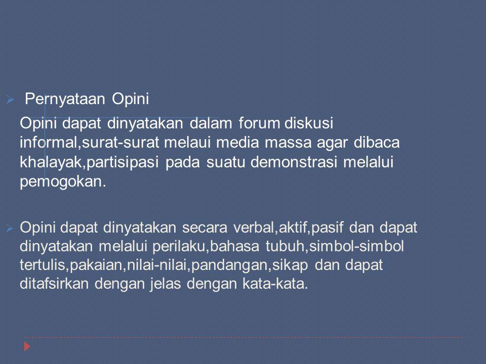  Pernyataan Opini Opini dapat dinyatakan dalam forum diskusi informal,surat-surat melaui media massa agar dibaca khalayak,partisipasi pada suatu demo