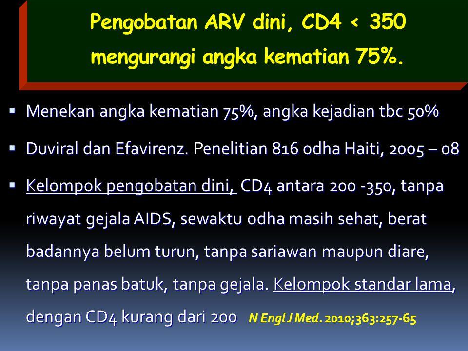 Pengobatan ARV dini, CD4 < 350 mengurangi angka kematian 75%.  Menekan angka kematian 75%, angka kejadian tbc 50%  Duviral dan Efavirenz. enelitian