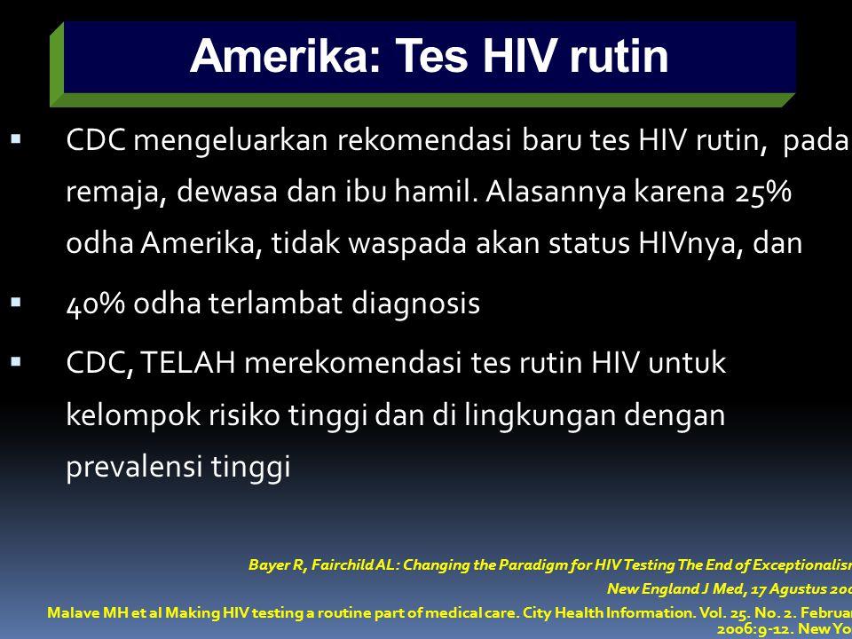 Amerika: Tes HIV rutin  CDC mengeluarkan rekomendasi baru tes HIV rutin, pada remaja, dewasa dan ibu hamil. Alasannya karena 25% odha Amerika, tidak