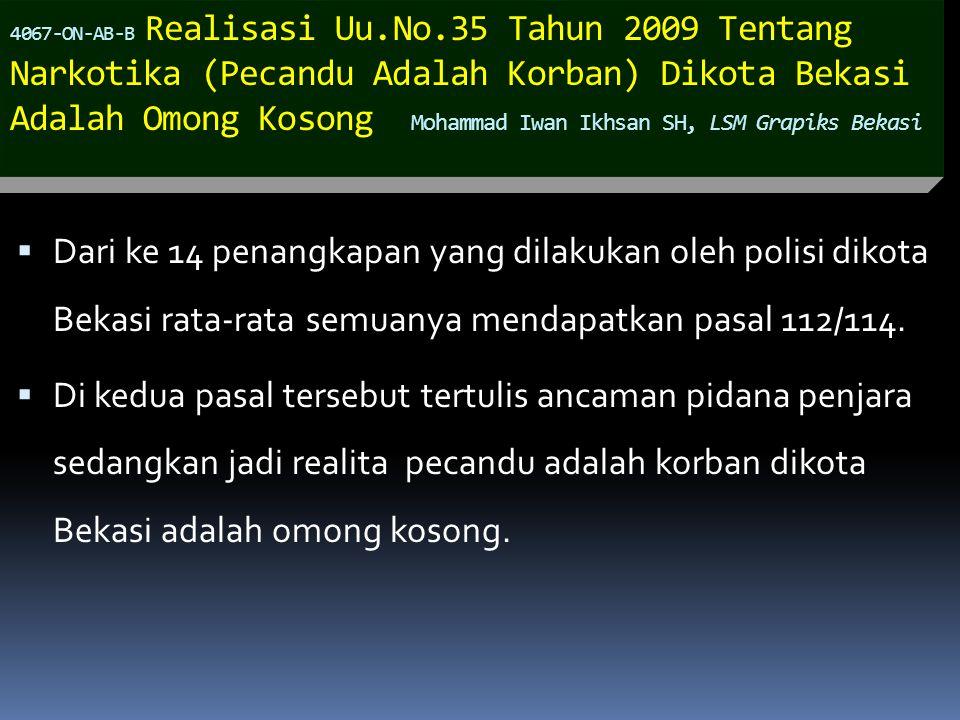 4067-ON-AB-B Realisasi Uu.No.35 Tahun 2009 Tentang Narkotika (Pecandu Adalah Korban) Dikota Bekasi Adalah Omong Kosong Mohammad Iwan Ikhsan SH, LSM Gr