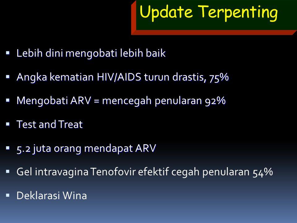 Update Terpenting  Lebih dini mengobati lebih baik  Angka kematian HIV/AIDS turun drastis, 75%  Mengobati ARV = mencegah penularan 92%  Test and T