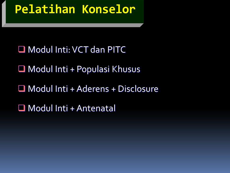 Pelatihan Konselor  Modul Inti: VCT dan PITC  Modul Inti + Populasi Khusus  Modul Inti + Aderens + Disclosure  Modul Inti + Antenatal