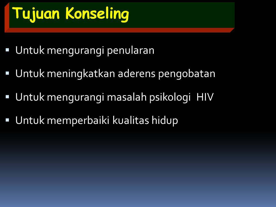 Tujuan Konseling  Untuk mengurangi penularan  Untuk meningkatkan aderens pengobatan  Untuk mengurangi masalah psikologi HIV  Untuk memperbaiki kua