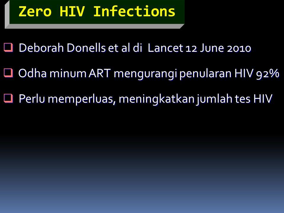 Zero HIV Infections  Deborah Donells et al di Lancet 12 June 2010  Odha minum ART mengurangi penularan HIV 92%  Perlu memperluas, meningkatkan juml