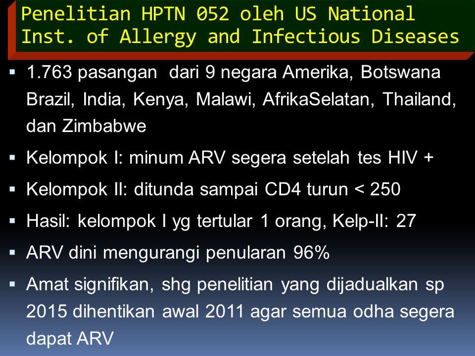 Penelitian HPTN 052 oleh US National Inst. of Allergy and Infectious Diseases  1.763 pasangan dari 9 negara Amerika, Botswana Brazil, India, Kenya, M
