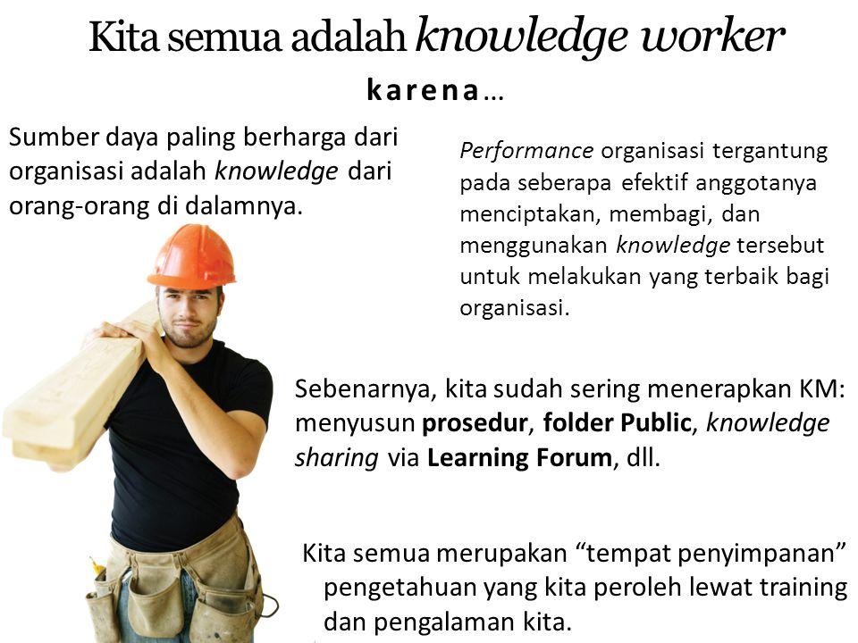 Sumber daya paling berharga dari organisasi adalah knowledge dari orang-orang di dalamnya. Kita semua adalah knowledge worker karena… Sebenarnya, kita