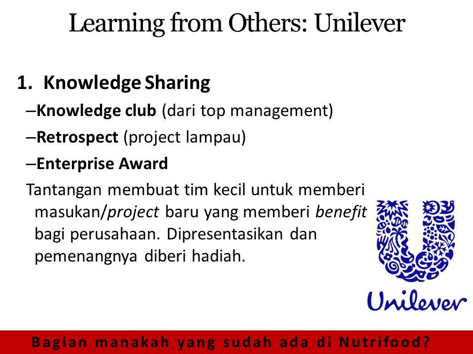 Learning from Others: Unilever 1.Knowledge Sharing – Knowledge club (dari top management) – Retrospect (project lampau) – Enterprise Award Tantangan membuat tim kecil untuk memberi masukan/project baru yang memberi benefit bagi perusahaan.