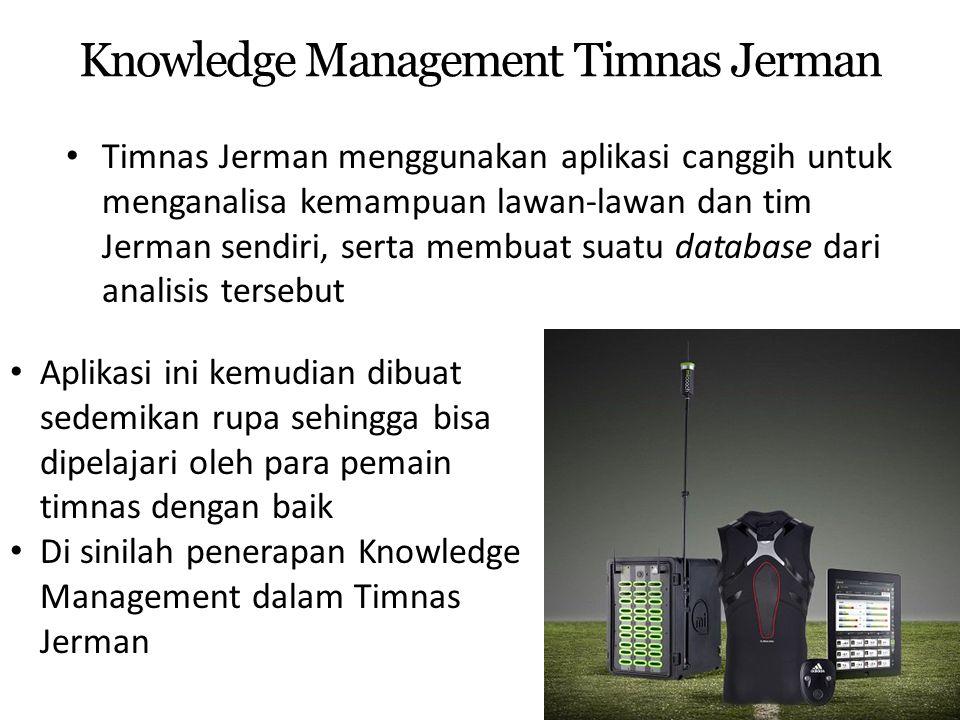 Knowledge Management Timnas Jerman Timnas Jerman menggunakan aplikasi canggih untuk menganalisa kemampuan lawan-lawan dan tim Jerman sendiri, serta me