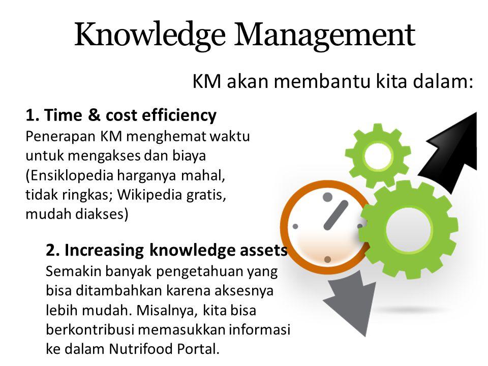KM akan membantu kita dalam: Knowledge Management 2. Increasing knowledge assets Semakin banyak pengetahuan yang bisa ditambahkan karena aksesnya lebi