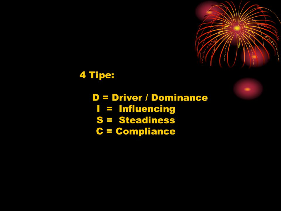 4 Tipe: D = Driver / Dominance I = Influencing S = Steadiness C = Compliance