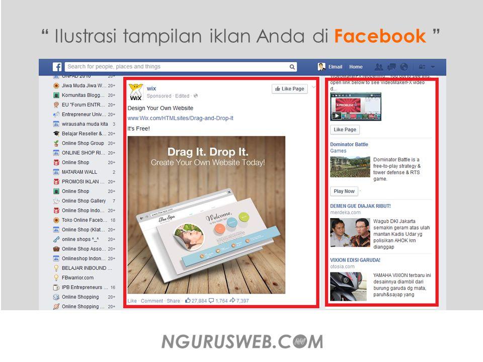 Ilustrasi tampilan iklan Anda di Facebook